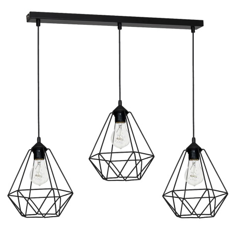 Hanglamp BASKET 3xE27/60W/230V zwart