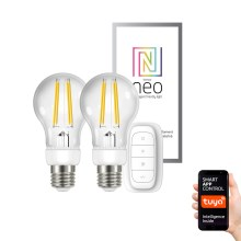 Immax Neo - SET 2xLED Lamp dimbaar E27/6,3W/230V + afstandsbediening