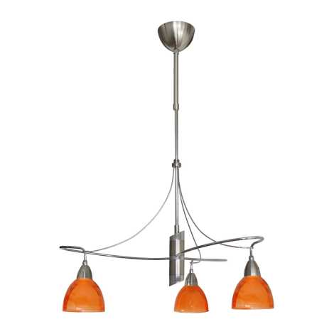Kroonluchter CARRAT mat chroom/chroom/oranje