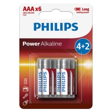 Philips LR03P6BP/10 - 6 st. Alkaline batterij AAA POWER ALKALINE 1,5V