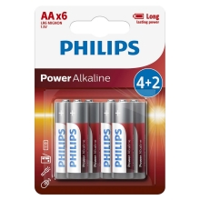 Philips LR6P6BP/10 - 6 st. Alkaline batterij AA POWER ALKALINE 1,5V