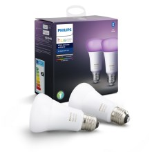 SET 2x LED Lamp dimbaar Philips HUE WHITE AND COLOR AMBIANCE E27/9W/230V