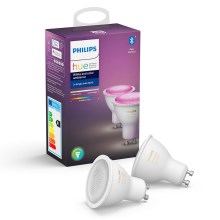 SET 2x LED Lamp dimbaar Philips HUE WHITE AND COLOR AMBIANCE GU10/5,7W/230V