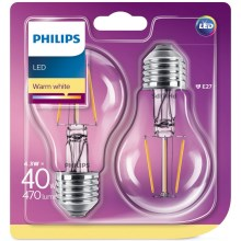 SET 2x LED Lamp Philips E27/4,3W/230V 2700K