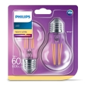 SET 2x LED Lamp VINTAGE Philips E27/7W/230V 2700K