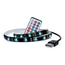 SET 2x LED RGB Strip voor TV met afstandsbediening IP65 LED/USB 2x50cm