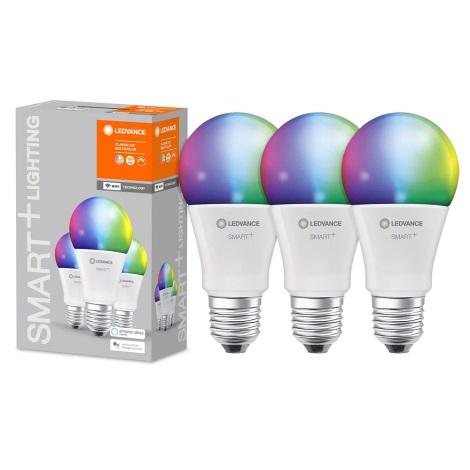SET 3x LED RGBW Lamp dimbaar SMART + E27 / 9W / 230V 2700K-6500K - Ledvance